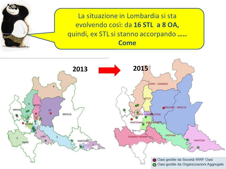 2013 2015 La situazione in Lombardia si sta evolvendo così: da 16 STL a 8 OA, quindi, ex STL si stanno accorpando …..