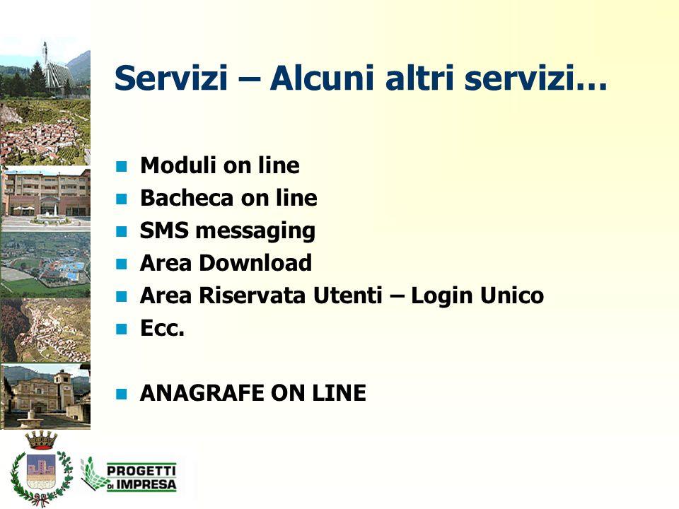 Servizi – Alcuni altri servizi… Moduli on line Bacheca on line SMS messaging Area Download Area Riservata Utenti – Login Unico Ecc.