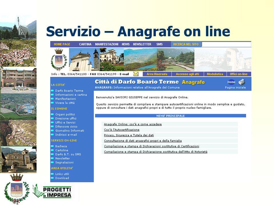 Servizio – Anagrafe on line