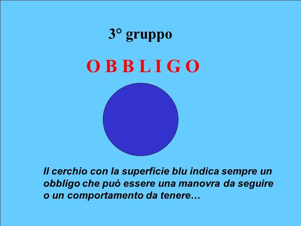 3° gruppo O B B L I G O Il cerchio con la superficie blu indica sempre un obbligo che può essere una manovra da seguire o un comportamento da tenere…