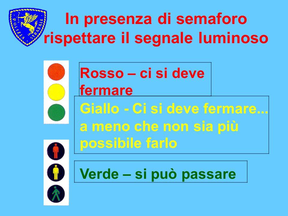 In presenza di semaforo rispettare il segnale luminoso Verde – si può passare Giallo - Ci si deve fermare... a meno che non sia più possibile farlo Ro