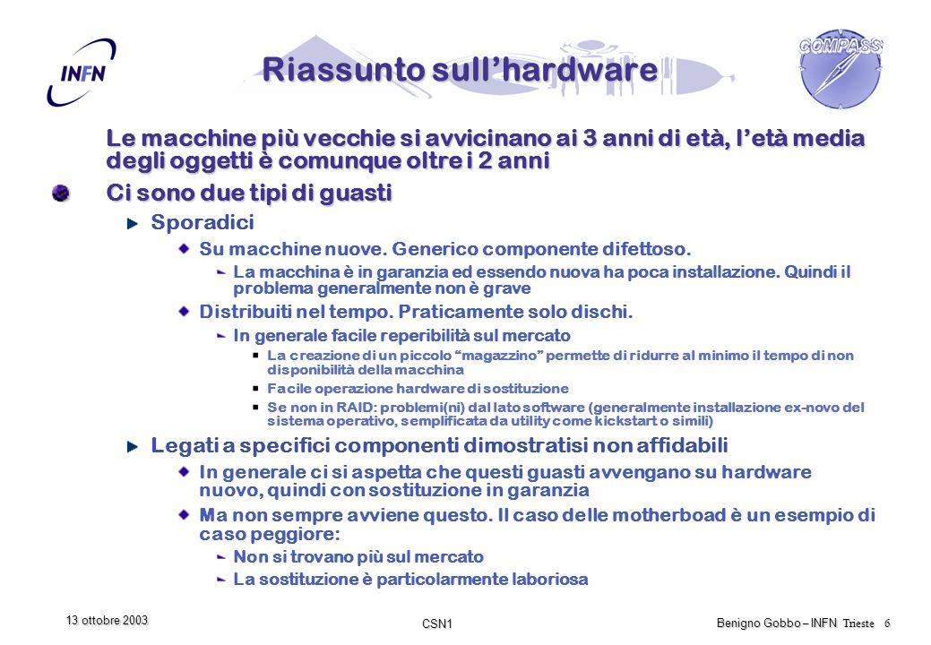 CSN1 Benigno Gobbo – INFN Trieste 7 13 ottobre 2003 Considerazioni Punto debole in caso di guasti Dopo poco più di 2 anni certi componenti fondamentali (es.