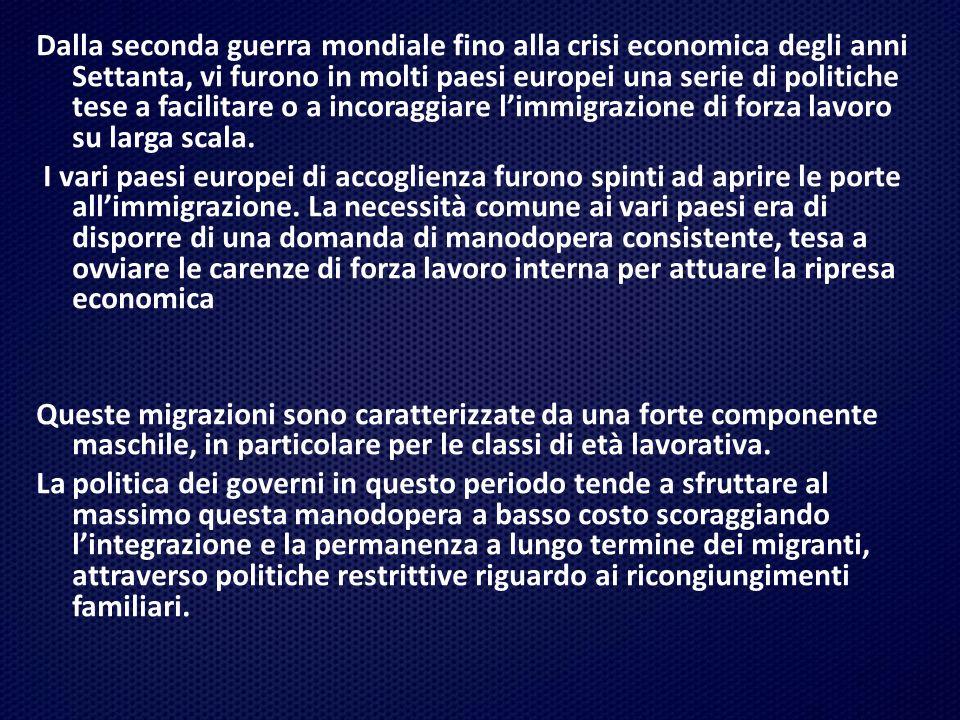 I grandi flussi migratori europei di questo periodo : paesi di partenza: Italia, Spagna, Portogallo, Turchia, Jugoslavia e tutti i paesi del Maghreb; paesi di destinazione:Francia, Germania, Benelux, Svizzera e Regno Unito.