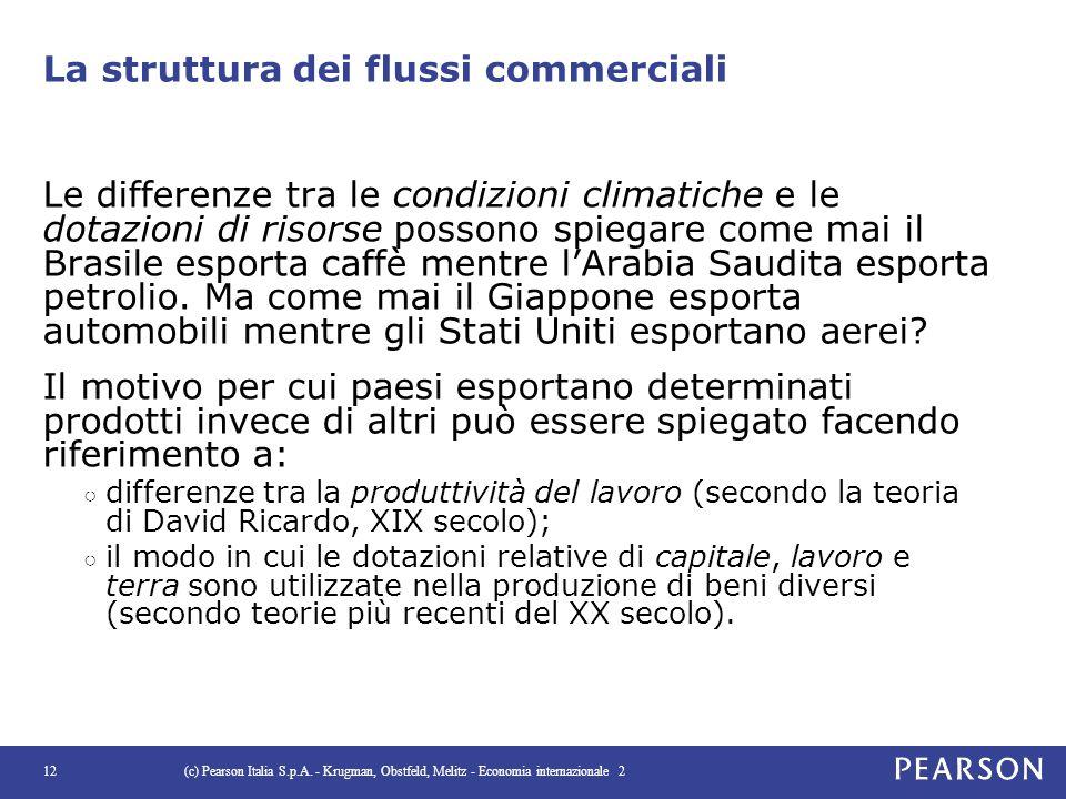 La struttura dei flussi commerciali Le differenze tra le condizioni climatiche e le dotazioni di risorse possono spiegare come mai il Brasile esporta
