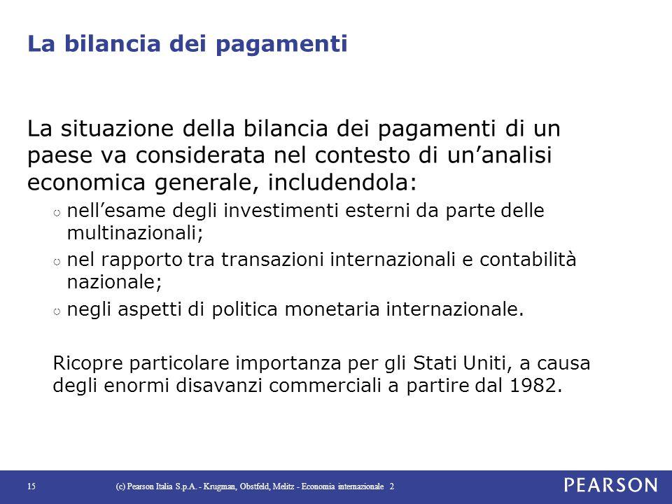 La bilancia dei pagamenti La situazione della bilancia dei pagamenti di un paese va considerata nel contesto di un'analisi economica generale, include