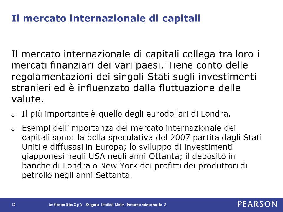 Il mercato internazionale di capitali Il mercato internazionale di capitali collega tra loro i mercati finanziari dei vari paesi. Tiene conto delle re