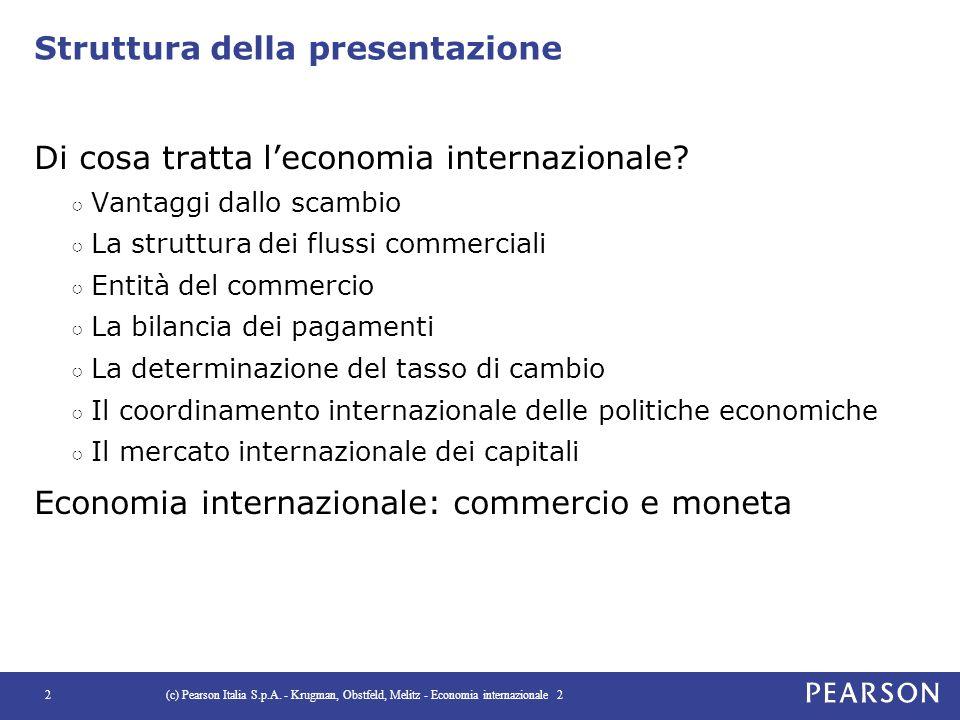 Struttura della presentazione Di cosa tratta l'economia internazionale? ○ Vantaggi dallo scambio ○ La struttura dei flussi commerciali ○ Entità del co