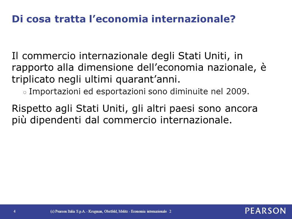 Di cosa tratta l'economia internazionale? Il commercio internazionale degli Stati Uniti, in rapporto alla dimensione dell'economia nazionale, è tripli