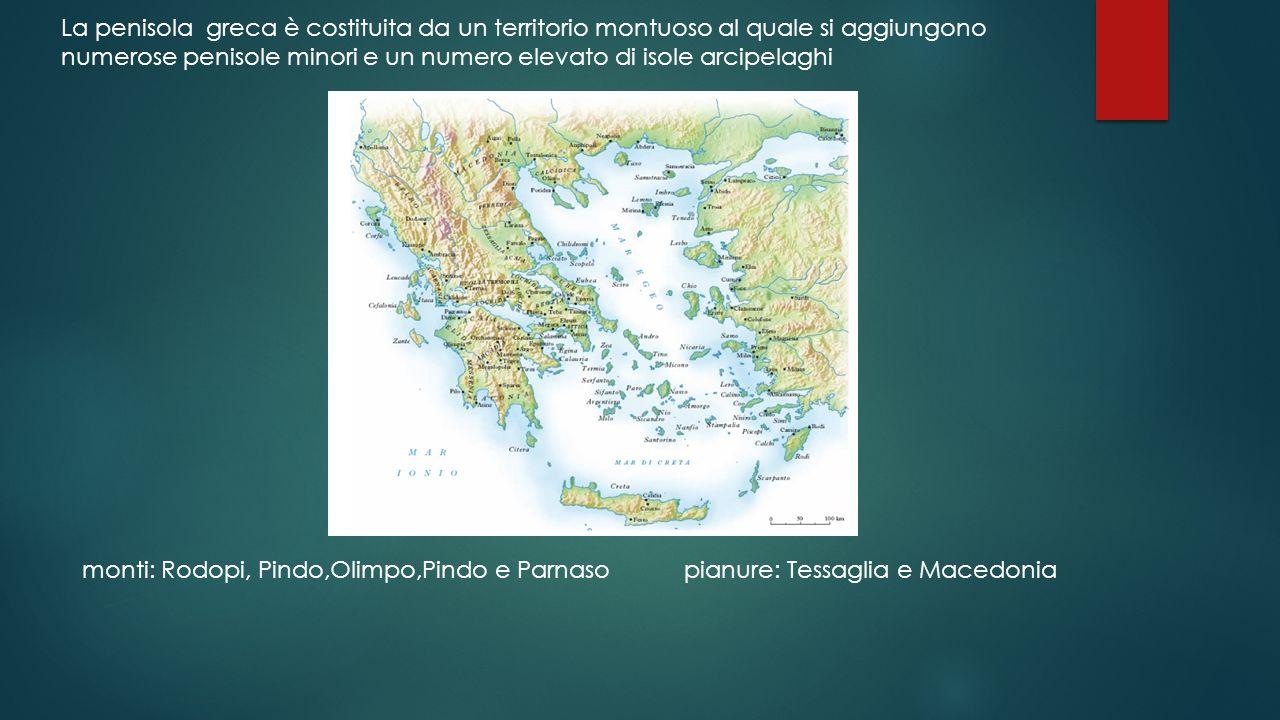 monti: Rodopi, Pindo,Olimpo,Pindo e Parnaso pianure: Tessaglia e Macedonia La penisola greca è costituita da un territorio montuoso al quale si aggiun