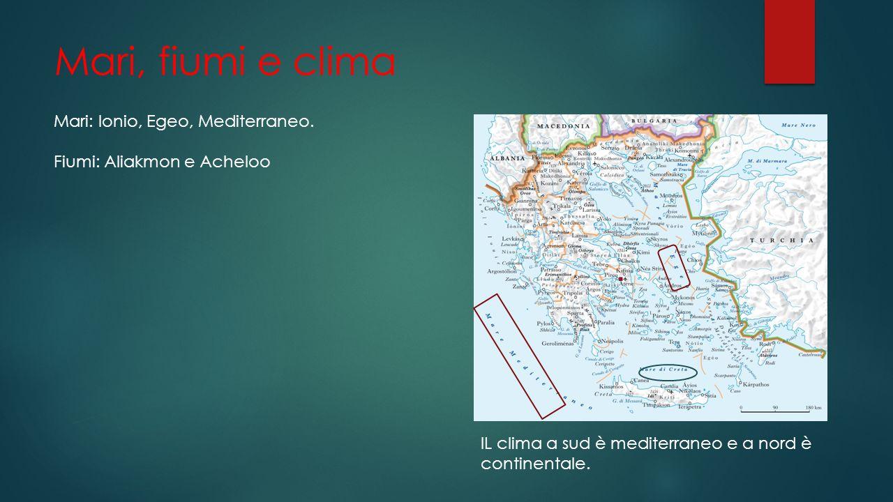 Mari, fiumi e clima Mari: Ionio, Egeo, Mediterraneo. Fiumi: Aliakmon e Acheloo IL clima a sud è mediterraneo e a nord è continentale.