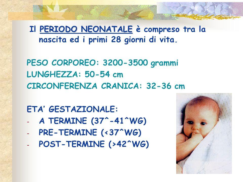 PERIODO NEONATALE Il PERIODO NEONATALE è compreso tra la nascita ed i primi 28 giorni di vita. PESO CORPOREO: 3200-3500 grammi LUNGHEZZA: 50-54 cm CIR