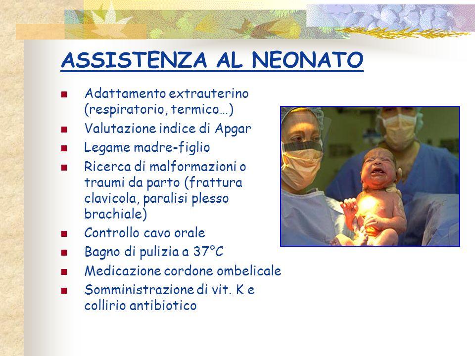 ASSISTENZA AL NEONATO Adattamento extrauterino (respiratorio, termico…) Valutazione indice di Apgar Legame madre-figlio Ricerca di malformazioni o tra