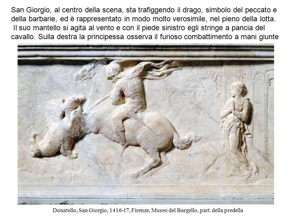 Donatello, San Giorgio, 1416-17, Firenze, Museo del Bargello, part. della predella San Giorgio, al centro della scena, sta trafiggendo il drago, simbo