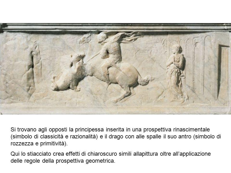 Si trovano agli opposti la principessa inserita in una prospettiva rinascimentale (simbolo di classicità e razionalità) e il drago con alle spalle il