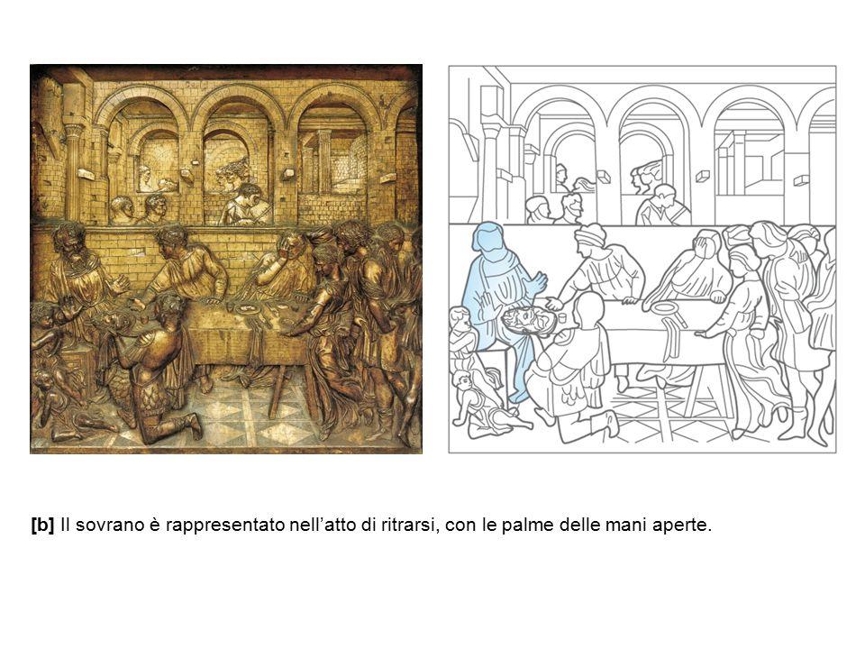 [b] Il sovrano è rappresentato nell'atto di ritrarsi, con le palme delle mani aperte.