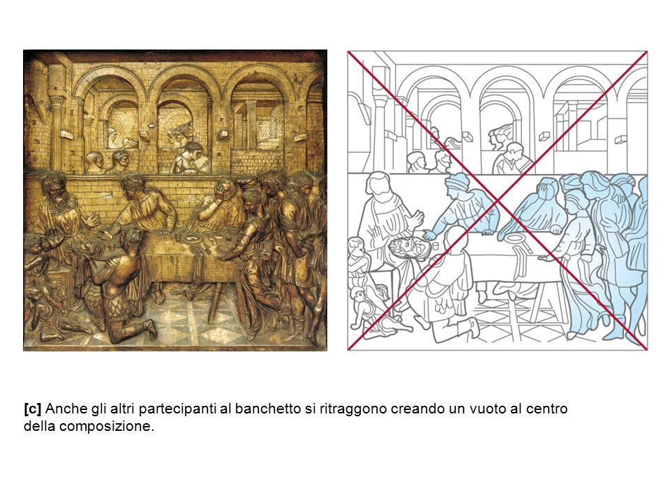 [c] Anche gli altri partecipanti al banchetto si ritraggono creando un vuoto al centro della composizione.
