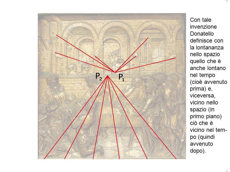 Con tale invenzione Donatello definisce con la lontananza nello spazio quello che è anche lontano nel tempo (cioè avvenuto prima) e, viceversa, vicino