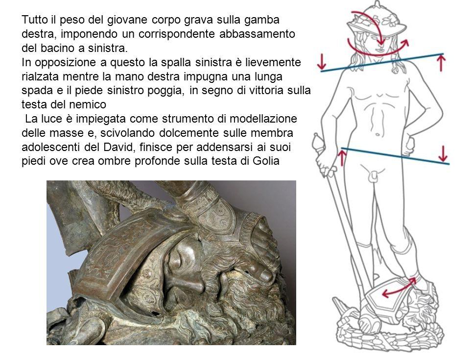 Tutto il peso del giovane corpo grava sulla gamba destra, imponendo un corrispondente abbassamento del bacino a sinistra. In opposizione a questo la s