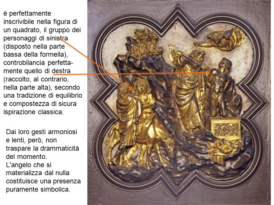 è perfettamente inscrivibile nella figura di un quadrato, il gruppo dei personaggi di sinistra (disposto nella parte bassa della formella), controbila
