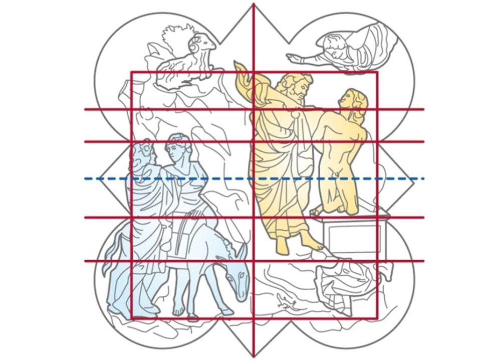 Alla figura angelica fanno riscontro, nel lobo diametralmente opposto, uno sperone roccioso e un asino che bruca l erba, quasi a sottolineare la contrapposizione fra la dimensione terrena (la roccia e l animale) e quella divina (l angelo e il cielo)
