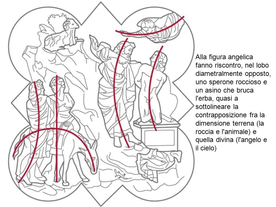 Alla figura angelica fanno riscontro, nel lobo diametralmente opposto, uno sperone roccioso e un asino che bruca l'erba, quasi a sottolineare la contr