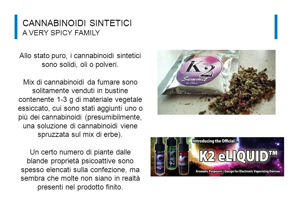 CANNABINOIDI SINTETICI A VERY SPICY FAMILY Allo stato puro, i cannabinoidi sintetici sono solidi, oli o polveri. Mix di cannabinoidi da fumare sono so