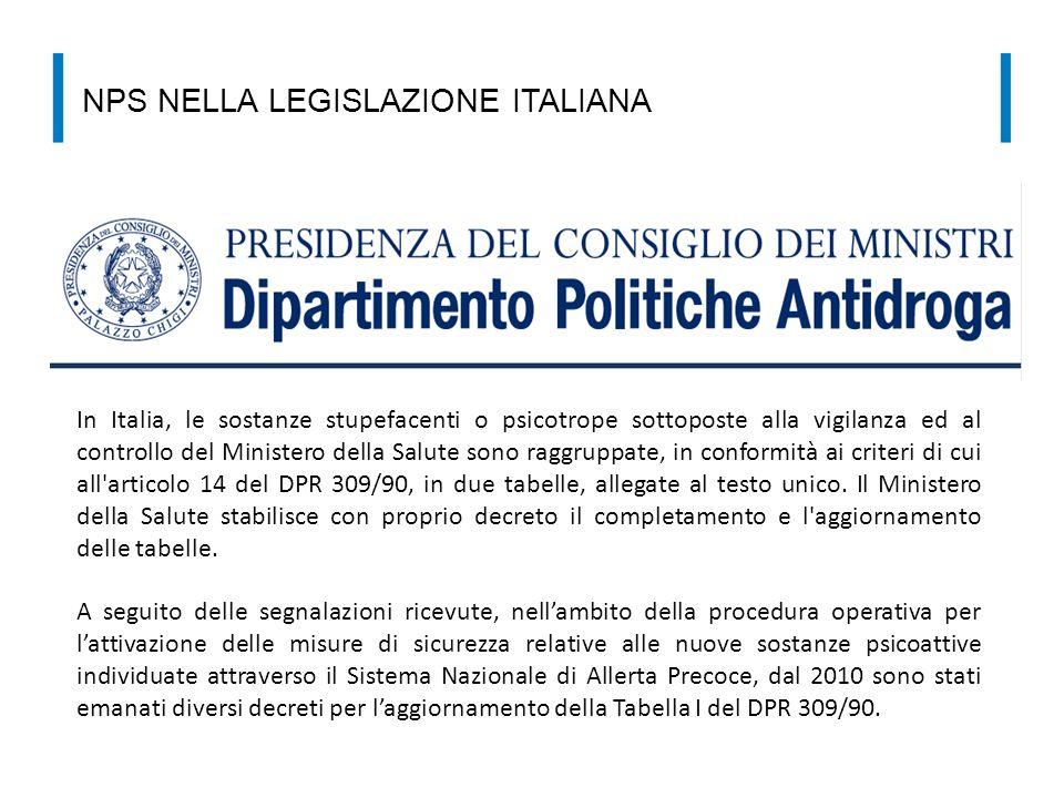 NPS NELLA LEGISLAZIONE ITALIANA In Italia, le sostanze stupefacenti o psicotrope sottoposte alla vigilanza ed al controllo del Ministero della Salute