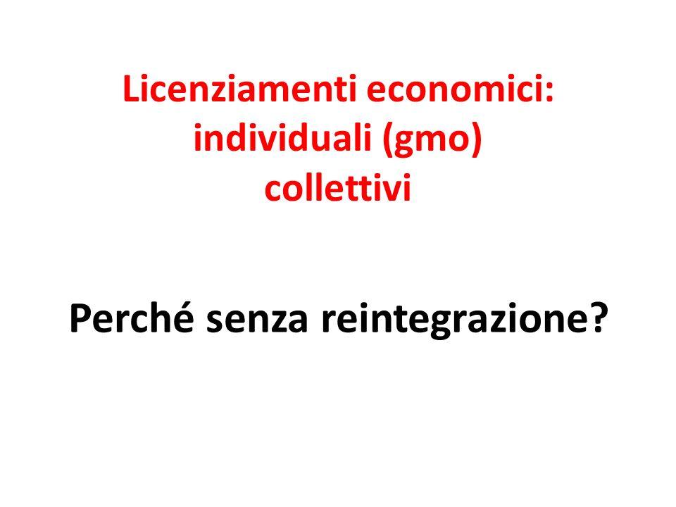 Licenziamenti economici: individuali (gmo) collettivi Perché senza reintegrazione?