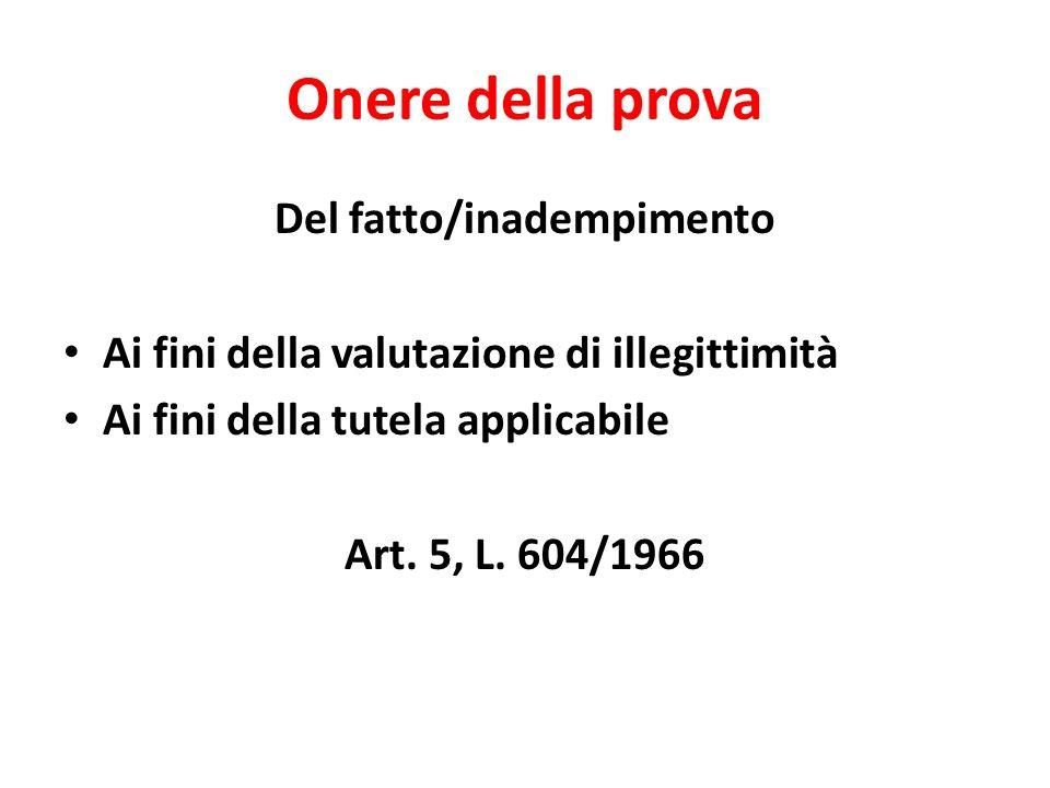 Onere della prova Del fatto/inadempimento Ai fini della valutazione di illegittimità Ai fini della tutela applicabile Art. 5, L. 604/1966