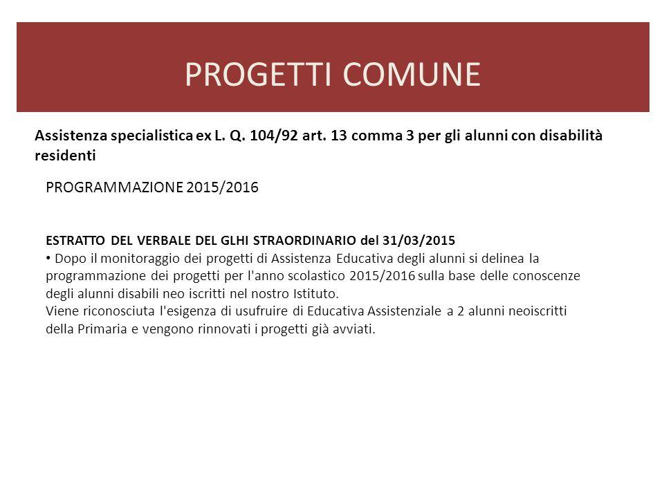 PROGETTI COMUNE ESTRATTO DEL VERBALE DEL GLHI STRAORDINARIO del 31/03/2015 Dopo il monitoraggio dei progetti di Assistenza Educativa degli alunni si d