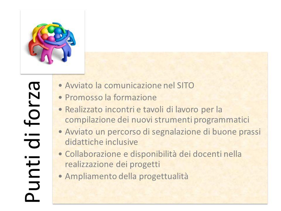 Punti di forza Avviato la comunicazione nel SITO Promosso la formazione Realizzato incontri e tavoli di lavoro per la compilazione dei nuovi strumenti