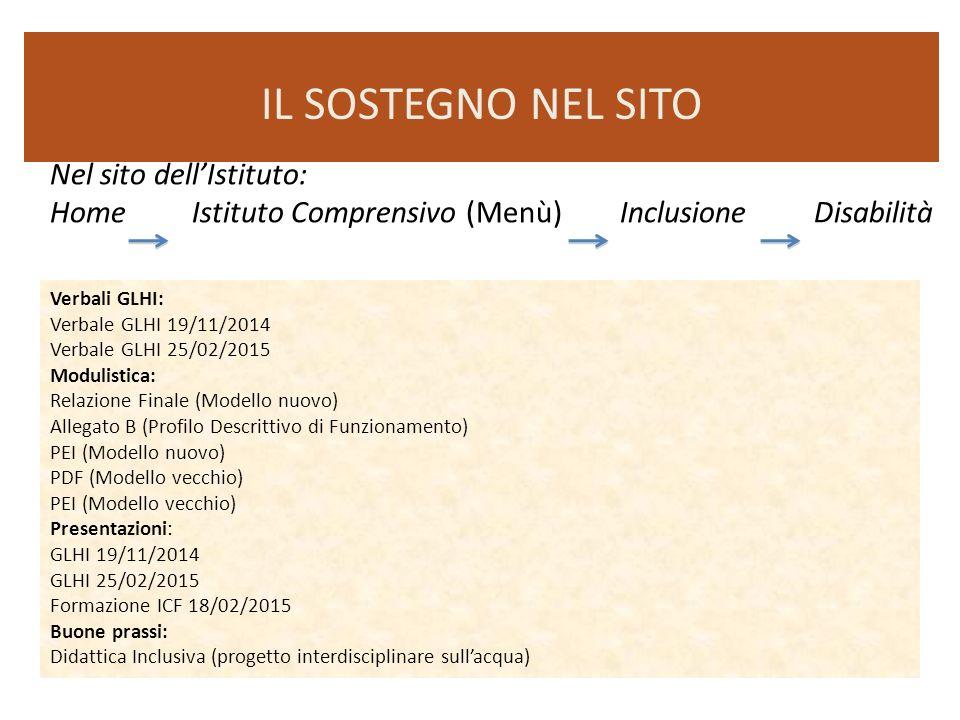 Nel sito dell'Istituto: Home Istituto Comprensivo (Menù) Inclusione Disabilità IL SOSTEGNO NEL SITO Verbali GLHI: Verbale GLHI 19/11/2014 Verbale GLHI