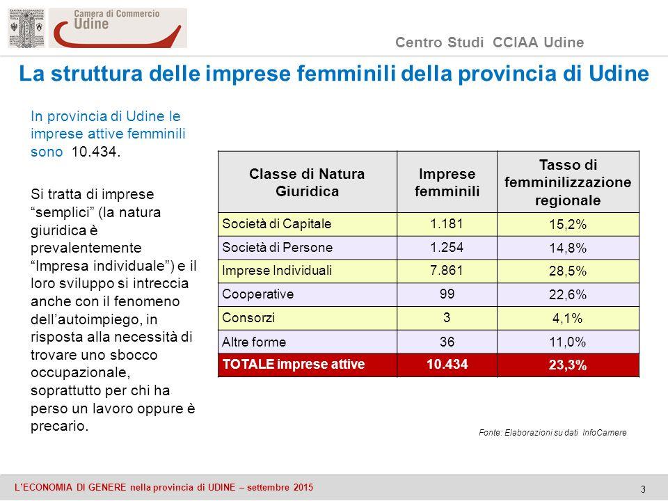 Centro Studi CCIAA Udine L'ECONOMIA DI GENERE nella provincia di UDINE – settembre 2015 3 La struttura delle imprese femminili della provincia di Udine In provincia di Udine le imprese attive femminili sono 10.434.
