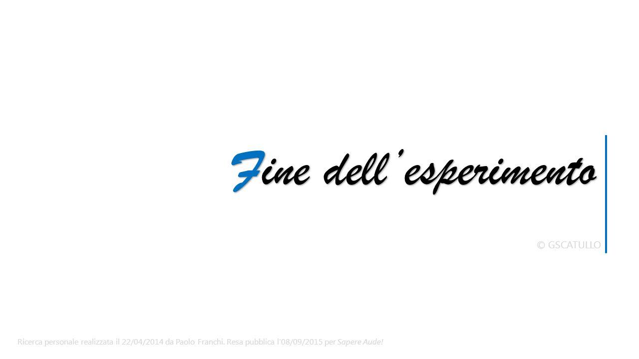 Fine dell'esperimento © GSCATULLO Ricerca personale realizzata il 22/04/2014 da Paolo Franchi.