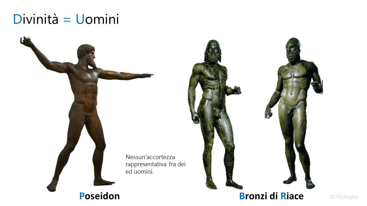 Divinità = Uomini PoseidonBronzi di Riace Nessun'accortezza rappresentativa fra dei ed uomini.
