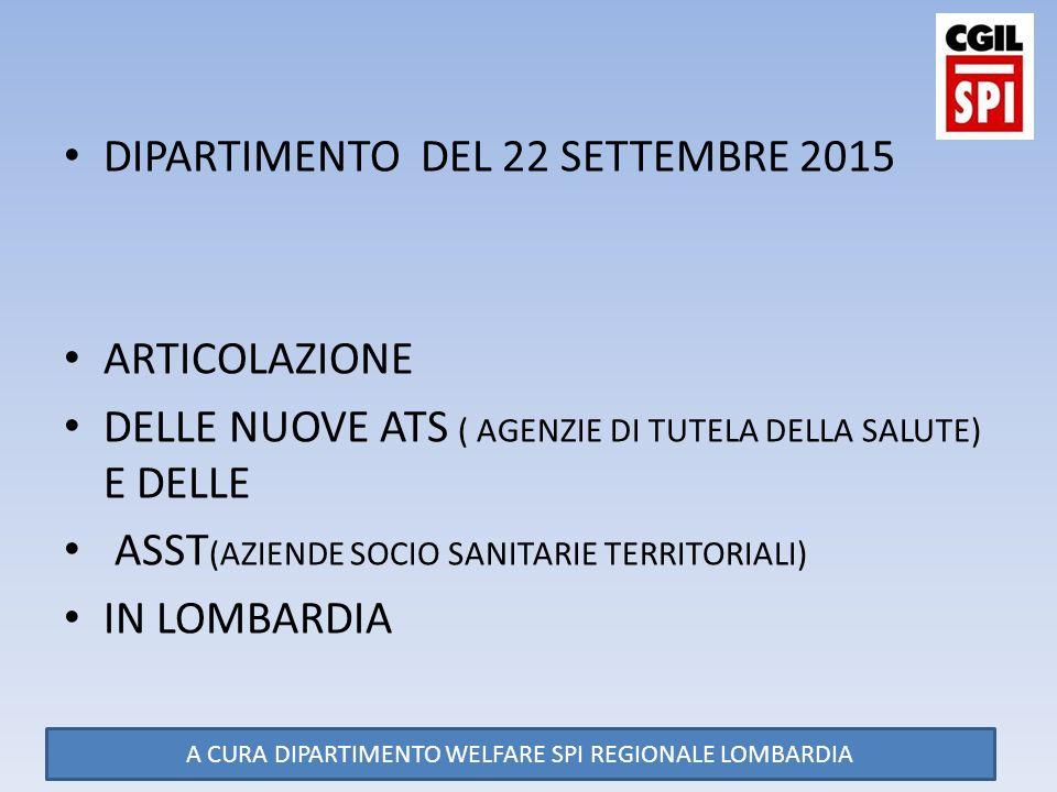 DIPARTIMENTO DEL 22 SETTEMBRE 2015 ARTICOLAZIONE DELLE NUOVE ATS ( AGENZIE DI TUTELA DELLA SALUTE) E DELLE ASST (AZIENDE SOCIO SANITARIE TERRITORIALI) IN LOMBARDIA A CURA DIPARTIMENTO WELFARE SPI REGIONALE LOMBARDIA