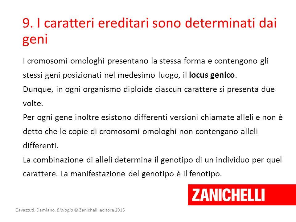 Cavazzuti, Damiano, Biologia © Zanichelli editore 2015 9. I caratteri ereditari sono determinati dai geni I cromosomi omologhi presentano la stessa fo