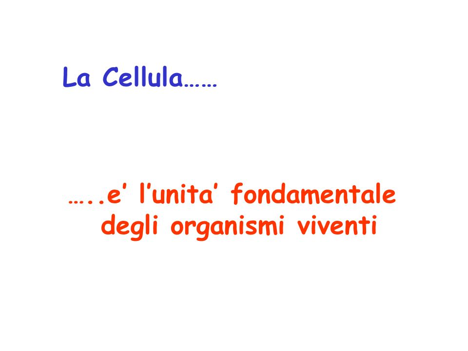 La Cellula…… …..e' l'unita' fondamentale degli organismi viventi