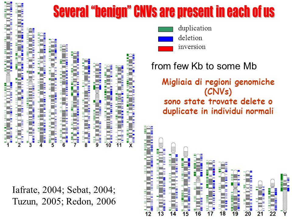 duplication deletion inversion from few Kb to some Mb [genomic variants database] Iafrate, 2004; Sebat, 2004; Tuzun, 2005; Redon, 2006 Migliaia di regioni genomiche (CNVs) sono state trovate delete o duplicate in individui normali