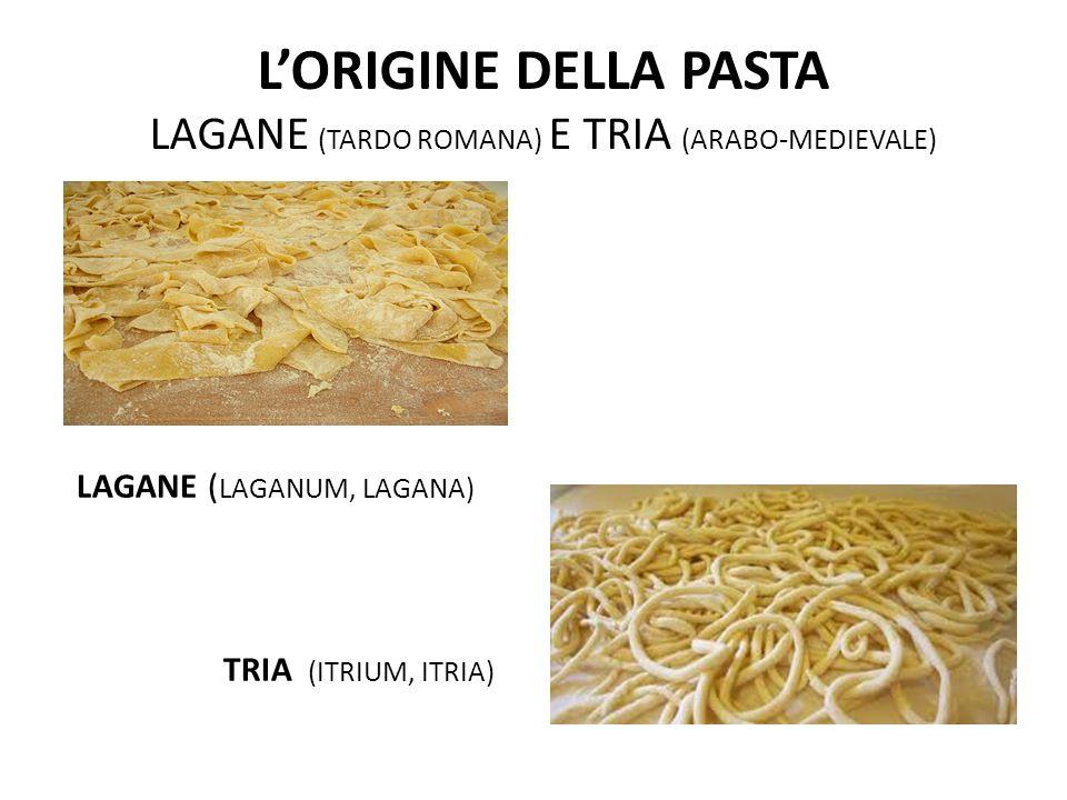 L'ORIGINE DELLA PASTA LAGANE (TARDO ROMANA) E TRIA (ARABO-MEDIEVALE) LAGANE ( LAGANUM, LAGANA) TRIA (ITRIUM, ITRIA)