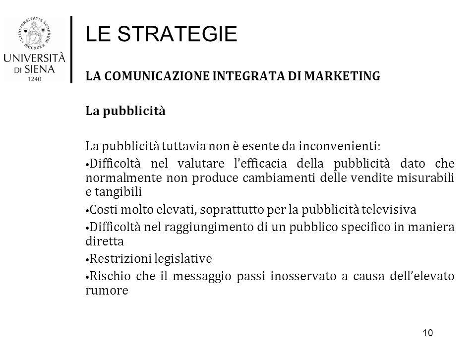 LE STRATEGIE LA COMUNICAZIONE INTEGRATA DI MARKETING La pubblicità La pubblicità tuttavia non è esente da inconvenienti: Difficoltà nel valutare l'eff