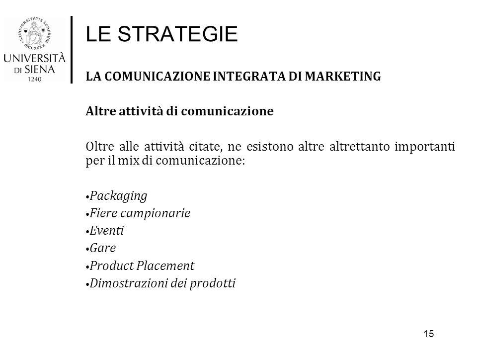 LE STRATEGIE LA COMUNICAZIONE INTEGRATA DI MARKETING Altre attività di comunicazione Oltre alle attività citate, ne esistono altre altrettanto importa