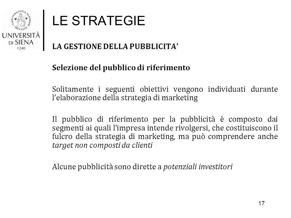 LE STRATEGIE LA GESTIONE DELLA PUBBLICITA' Selezione del pubblico di riferimento Solitamente i seguenti obiettivi vengono individuati durante l'elabor