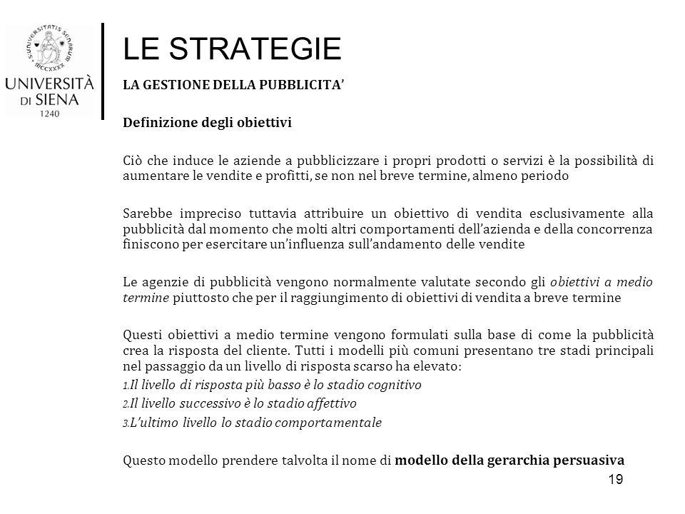 LE STRATEGIE LA GESTIONE DELLA PUBBLICITA' Definizione degli obiettivi Ciò che induce le aziende a pubblicizzare i propri prodotti o servizi è la poss