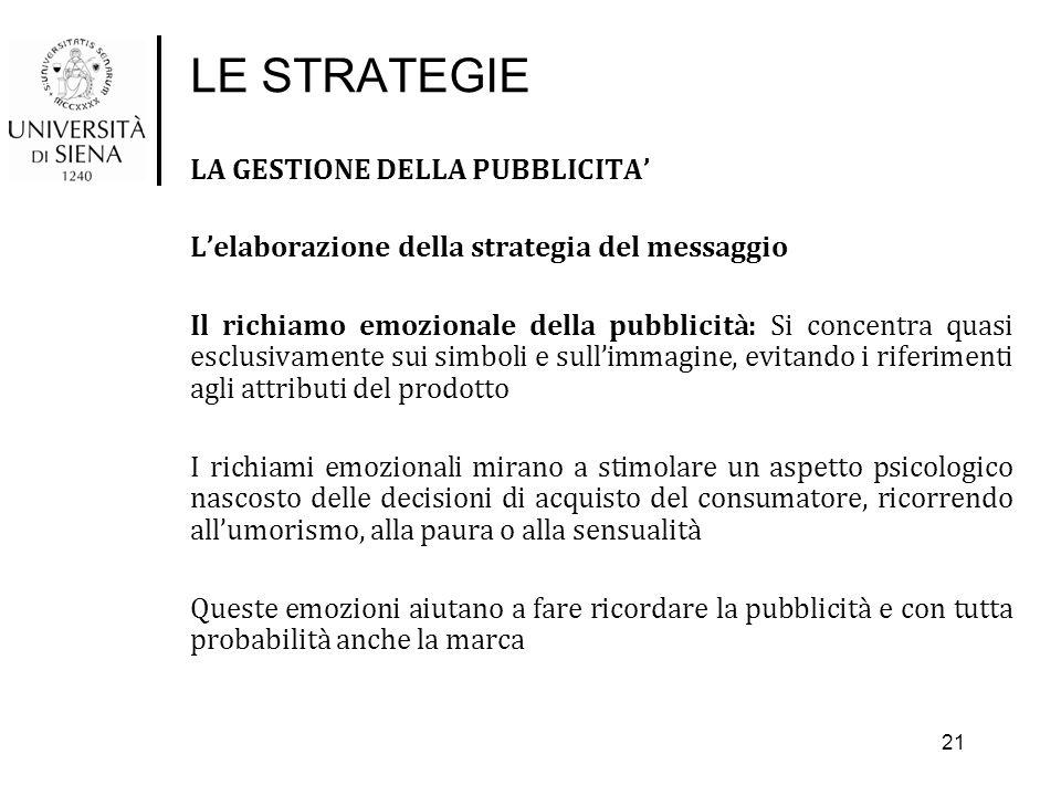 LE STRATEGIE LA GESTIONE DELLA PUBBLICITA' L'elaborazione della strategia del messaggio Il richiamo emozionale della pubblicità: Si concentra quasi es