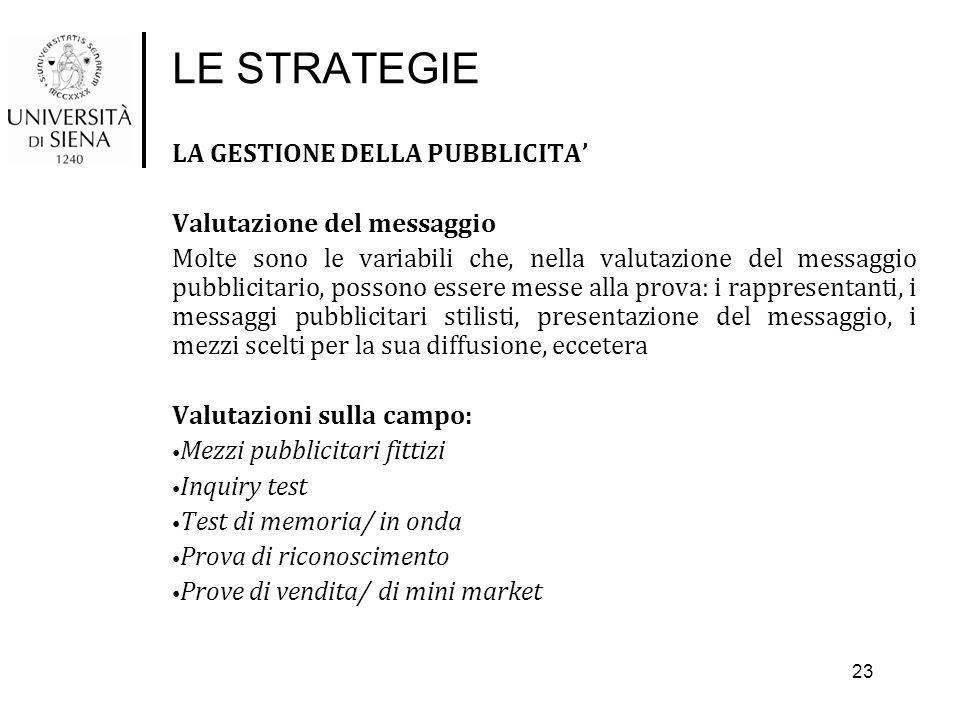 LE STRATEGIE LA GESTIONE DELLA PUBBLICITA' Valutazione del messaggio Molte sono le variabili che, nella valutazione del messaggio pubblicitario, posso