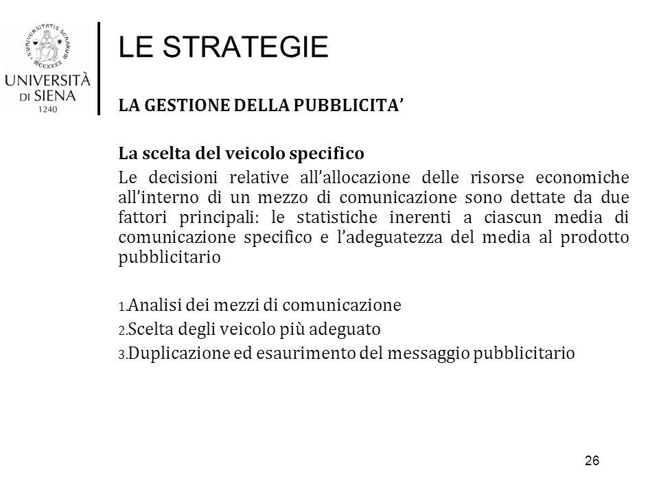 LE STRATEGIE LA GESTIONE DELLA PUBBLICITA' La scelta del veicolo specifico Le decisioni relative all'allocazione delle risorse economiche all'interno
