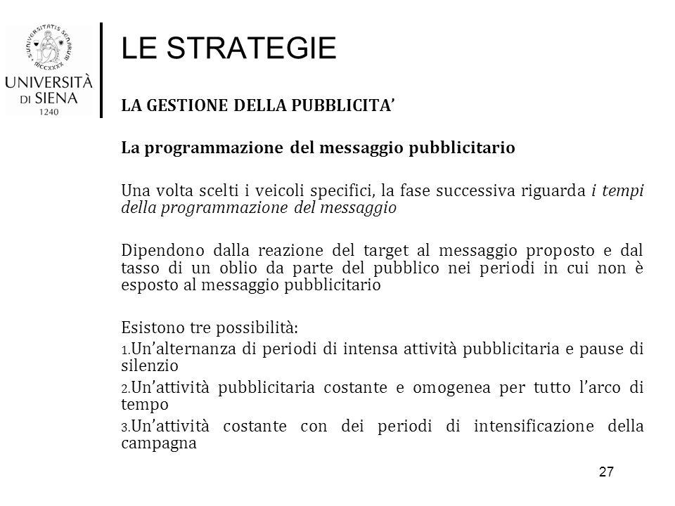LE STRATEGIE LA GESTIONE DELLA PUBBLICITA' La programmazione del messaggio pubblicitario Una volta scelti i veicoli specifici, la fase successiva rigu