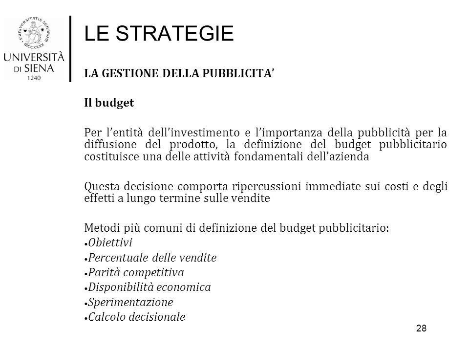 LE STRATEGIE LA GESTIONE DELLA PUBBLICITA' Il budget Per l'entità dell'investimento e l'importanza della pubblicità per la diffusione del prodotto, la