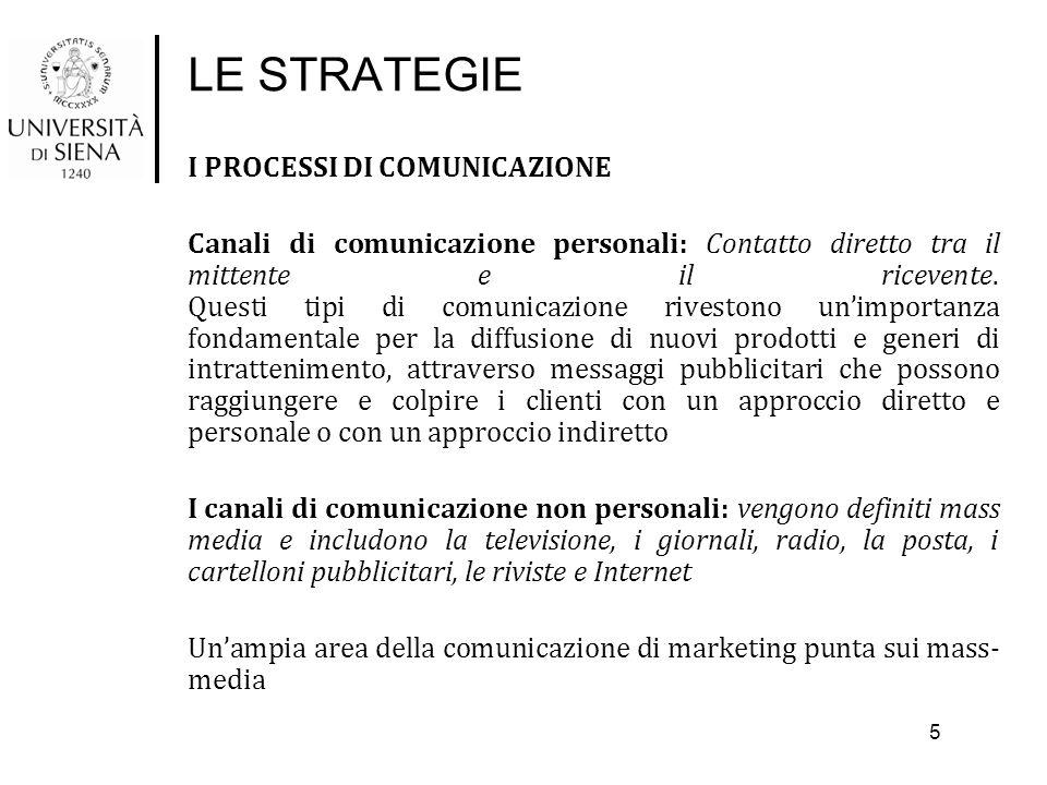LE STRATEGIE I PROCESSI DI COMUNICAZIONE Canali di comunicazione personali: Contatto diretto tra il mittente e il ricevente. Questi tipi di comunicazi